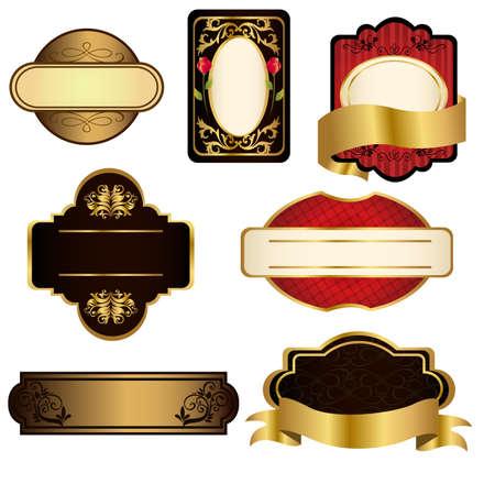 Un ensemble de cadres noirs et or Banque d'images - 9040749