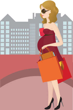 A pregnant woman going shopping Ilustracja
