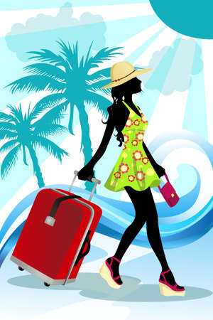 A vector illustration of a woman traveling in summer Çizim