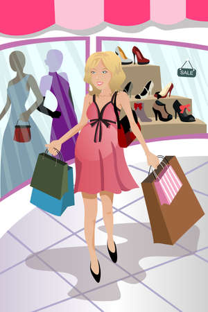A vector illustration of a pregnant woman going shopping in a mall