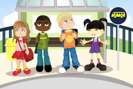 bus stop: A vector illustration of multi ethnic children waiting at a bus stop