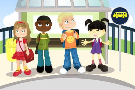transport scolaire: Une illustration vectorielle de multi ethnique enfants en attente � un arr�t de bus Illustration
