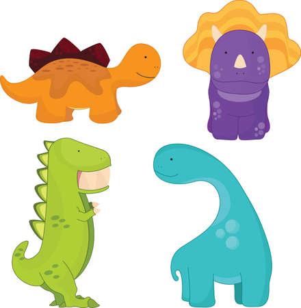 triceratops: A cartoon vector illustration of different cute dinosaurs