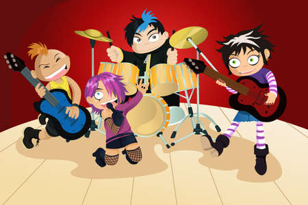 drums: Une illustration vectorielle de quatre enfants dans un groupe de rock Illustration