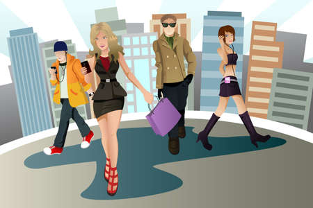 woman on phone: A vector illustration of a group of young urban people