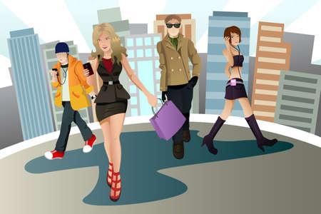 Una ilustración vectorial de un grupo de jóvenes urbanos  Foto de archivo - 9109685
