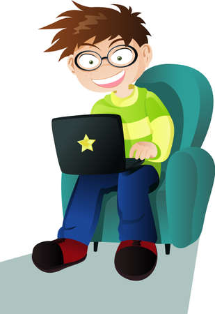 laptop: A vector illustration of a boy with a laptop