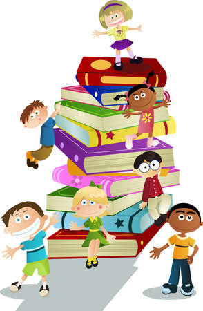 cartoon reading: A vector illustration of students and books, can be used for children education concept