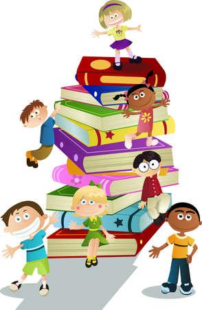 ni�os leyendo: Puede utilizarse una ilustraci�n vectorial de estudiantes y libros, por concepto de educaci�n de los ni�os Vectores