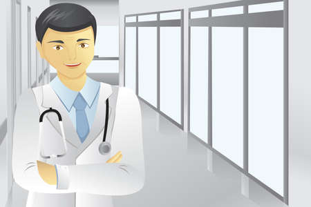 A vector illustration of a male doctor