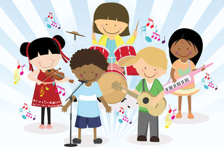 Una ilustración vectorial de cuatro niños en una banda de música Ilustración de vector