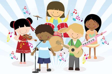 personas cantando: Una ilustraci�n vectorial de cuatro ni�os en una banda de m�sica Vectores