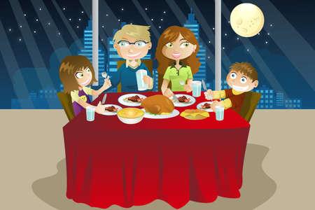 kid eat: Una illustrazione vettoriale di una cena in famiglia mangiare insieme