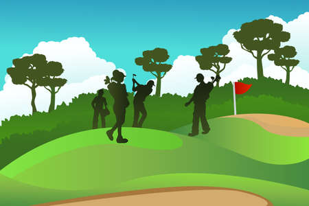 A vector illustration of a few golf players on a golf course Vector