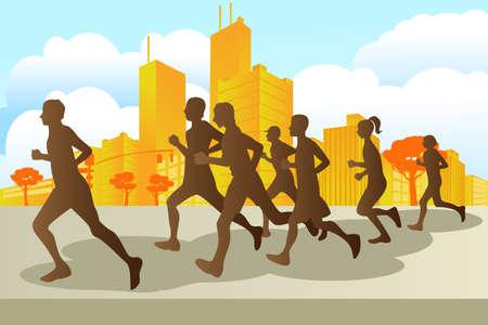 hombres corriendo: Una ilustración vectorial de corredores de maratón de la ciudad