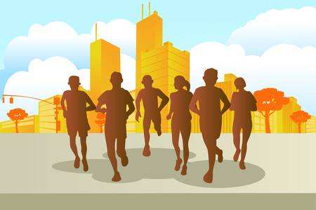 marathon running: A vector illustration of marathon runners in the city Illustration