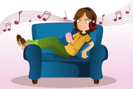 Een vector illustratie van een meisje naar muziek te luisteren