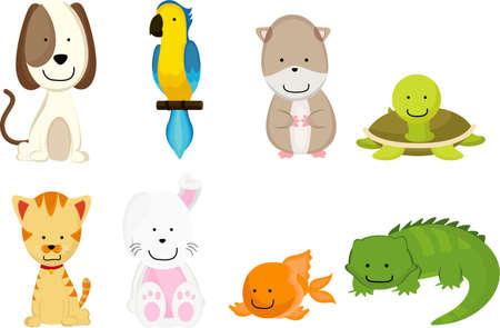 Een vectorillustratie van huisdieren cartoon