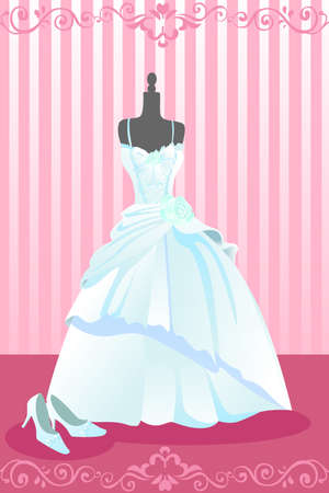A vector illustration of a wedding dress and a pair of wedding shoes 일러스트