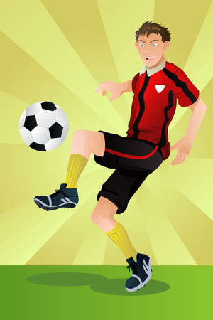 A vector illustration of a soccer player kicking a ball Stock Illustratie