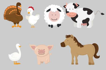 Een vectorillustratie van verschillende boerderijdieren