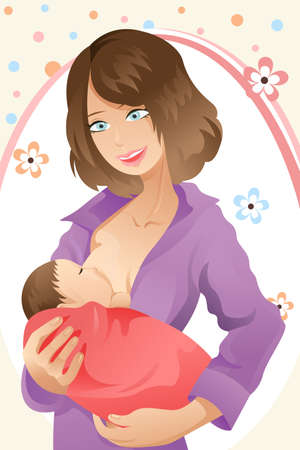 A woman breast feeding her baby Vector