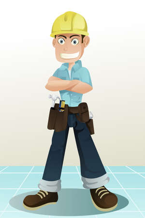 A handyman with his tools Vector