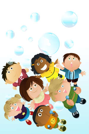 preschoolers: children playing bubbles Illustration
