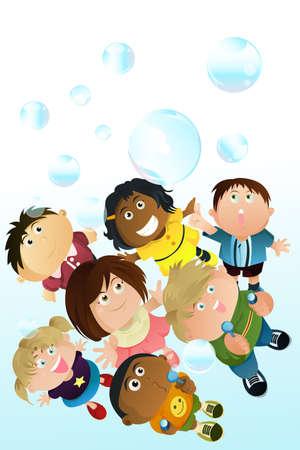 kinderen spelen bubbels Stock Illustratie