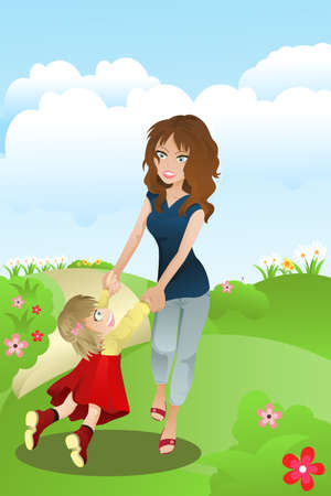 family outside: illustration of a mother and a daughter having fun in the park