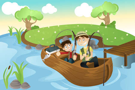 family outside: illustration of a father and a son going fishing in the lake