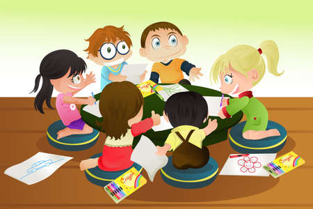 A vector illustration of a group of children drawing with crayons