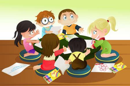 Een vectorillustratie van een groep van kinderen tekenen met kleurpotloden Stock Illustratie