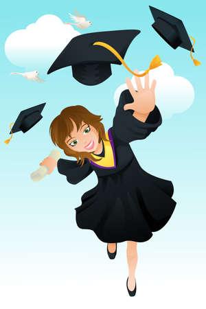 彼女の卒業を祝う幸せな学生のベクトル イラスト  イラスト・ベクター素材