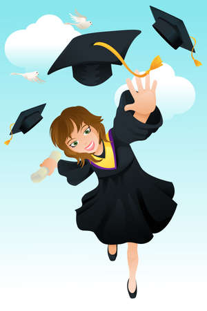 A vector illustration of a happy student celebrating her graduation