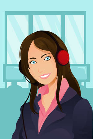 answering phone: A vector illustration of a businesswoman wearing a headset