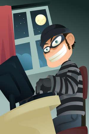 dieven: Een vectorillustratie van computer criminele identiteit stelen