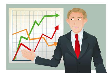 Un'illustrazione di vettore di un uomo d'affari che dà una presentazione del diagramma di statistica o del grafico Archivio Fotografico - 9316299