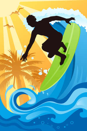 A vector illustration of a surfer surfing in the ocean Vectores