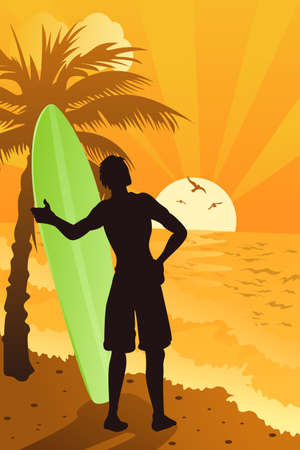 A vector illustration of a surfer surfing in the ocean 向量圖像