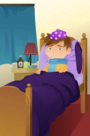 lying on bed: A vector illustration of a sick kid resting on bed Illustration