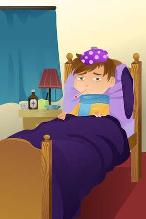 im bett liegen: Ein Vektor-Illustration eines Kranken Kind auf Bett