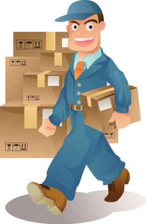 Een vector-illlustration van een levering man leveren van pakketten Stock Illustratie