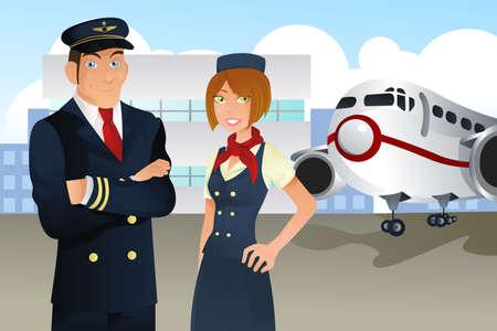 kollegen: Ein Pilot und eine Stewardess im Flughafen Illustration