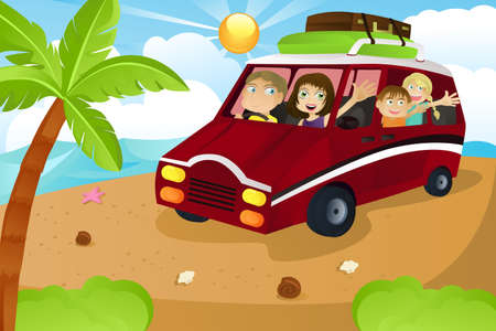 family holiday: A family riding a van leaving for summer vacation