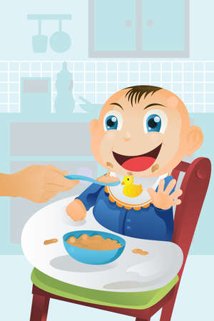family eating: A mother feeding her happy baby Illustration