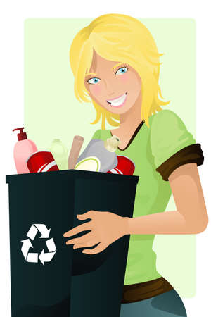 recycling: A vector illustration of a girl carrying a recycle waste bin