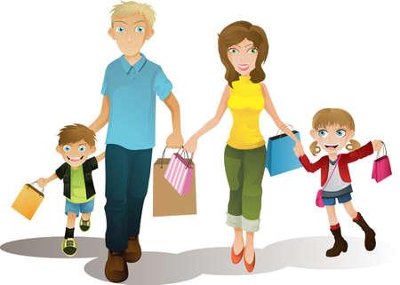 ni�os de compras: Una ilustraci�n vectorial de una familia de compras juntos Vectores