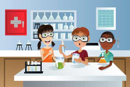 laboratorio: Una ilustraci�n vectorial de estudiantes en una clase de Ciencias trabajando en un proyecto de ciencia