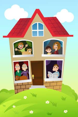 Een vectorillustratie van een gelukkige familie thuis